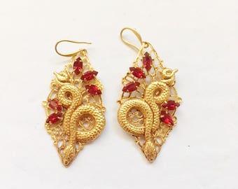 Snake Earrings for Ruby Lovers - Handmade original - 24kt gold plated