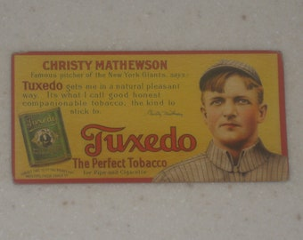 1910 Tuxedo Tobacco Ad Panels Gallery of Cards Christy Mathewson
