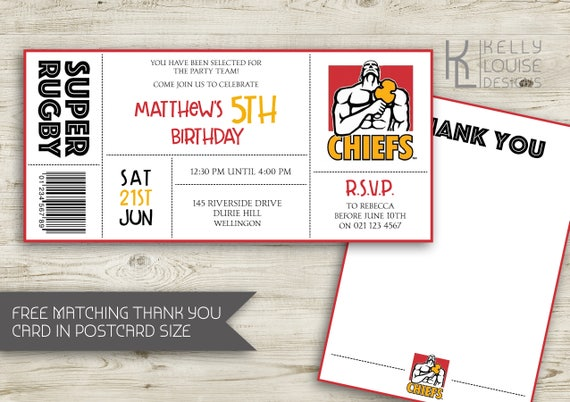 Chiefs birthday invitation rugby birthday party new chiefs birthday invitation rugby birthday party new zealand rugby super rugby party rugby ticket invitation nz rugby 163 stopboris Choice Image