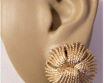 Monet Cordelia Braided Twisted Tassels Clip On or Pierced Post Earrings Gold Vintage Large Round Thread Spray Big Buttons Comfort Paddles