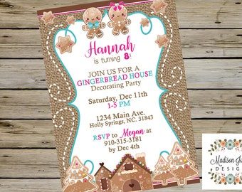 CHRISTMAS Gingerbread House Decorating BIRTHDAY Party INVITATION, Girl 8th Birthday Winter Gingerbread House Decorating Birthday Invitation
