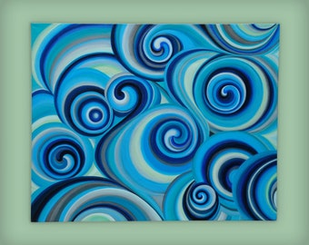 "Abstract blue acrylic painting on stretched canvas, 24"" x 30"", 1.5"" deep"