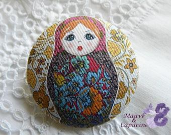 Button in matryoshka fabric, 0.94 in / 24 mm in diameter