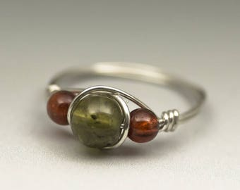 Grossular Green Garnet & Hessonite Gomed Garnet Gemstone Sterling Silver Wire Wrapped Ring - Made to Order, Ships Fast!