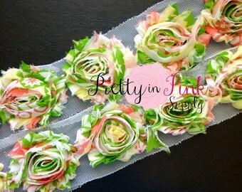 WATERMELON BLISS Shabby Rose Trim- Shabby Flowers- 1/2 Yard or 1 Yard- Shabby Chiffon Trim- Wholesale Shabby Flowers- Shabby Chic- Chiffon
