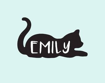 Custom Cat Name Stamp, Custom Personalized Name Cat Animal, Wood Rubber Stamp - Gifts for Kids