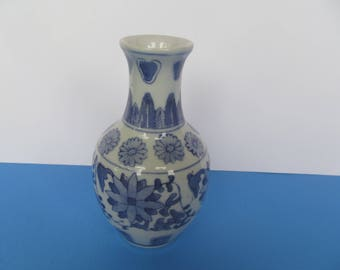 Blue and white 6'' Ceramic Bud Vase  - blue flowers  -
