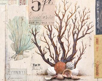 Brown Coral Print, Coral Illustration, Coral Decor, Coral Art, Coral Wall Art