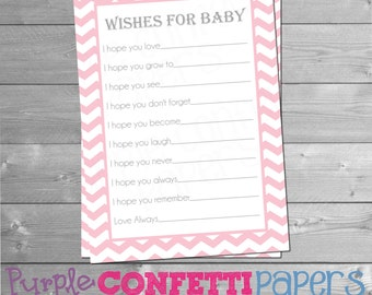Wishes for Baby Cards, Advice Cards for Baby, Baby Shower Games, Baby Shower Advice, Baby Shower Wishes Card, Girl, Pink, Chevron, Printable