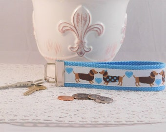 Keychain Wristlet Made With Dachshund Inspired Ribbon
