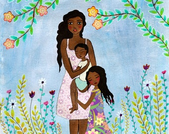 Mother and Child Painting, Mother Daughter Son Painting, Black African American Mother Dark Skin Mother and Child Family Wall Art Print