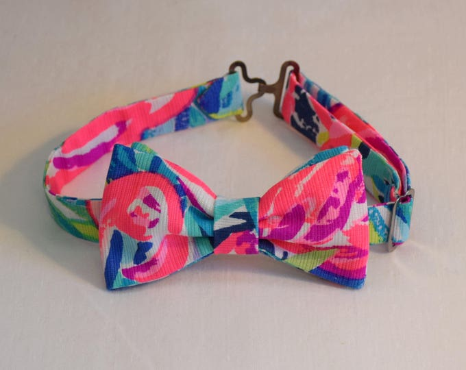 Boy's Bow Tie, Flamenco Beach 2017 pink/blue Lilly print, father/son matching ties, wedding accessory, toddler bow tie, ring bearer bow tie,
