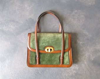 Vintage 1980's handbag moss green SPANISH SUEDE with brown trim