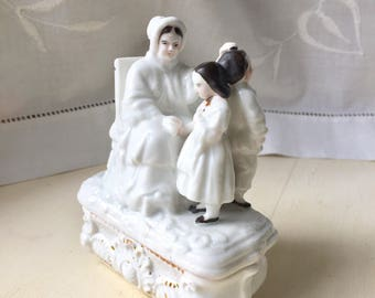 Victorian fairing figurine trinket box match striker, antique white porcelain, Conta & Boehme, china, lady two children, gift for her
