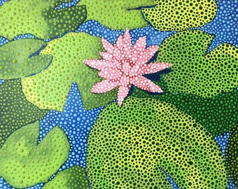 Arcylic dot painting with water lily
