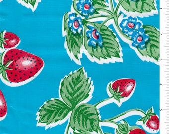 Blue Strawberry Oilcloth, Fabric By The Yard