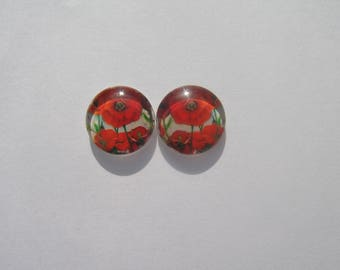 Nice set of 2 cabochon 14 mm with images of poppies flowers