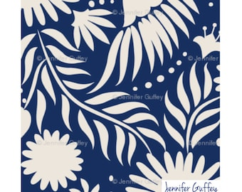 Otomi fabric by the yard, Navy Color, Print on Linen and Cotton Blend