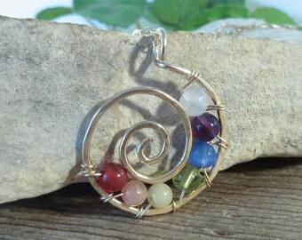 Gemstone 14k Gold Filled Chakra Necklace - Spiritual Necklace, Chakra Necklace, Rainbow Necklace, Pride Necklace, Yoga Necklace, Zen