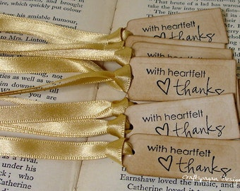 20 Tiny Thank You Tags/ Thanksgiving Tags/ Perfect Tags to Tie to Favors/ Wedding Favor Tags/  Ribbon Choice