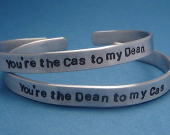 Supernatural Inspired - Dean to my Cas & Cas to my Dean - A Pair of Hand Stamped Bracelets in Aluminum or Sterling Silver