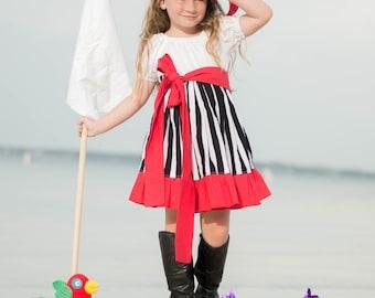 Pirate themed Costume- Pirate Dress- Girls Pirate Dress- Toddler Dress- Twirl Dress- Pirate Birthday- Pirate Clothes
