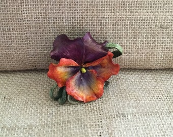 Leather Flower Brooch - Purple and Orange  - bridesmaid, wedding, mother of the bride brooch