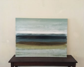 Ocean Striped Canvas Painting