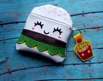 Cheeseburger Hamburger Zipper Bag! Vinyl Happy French Fries Zipper Pull Keychain! Makeup Bag! Food Fun! Fryday!