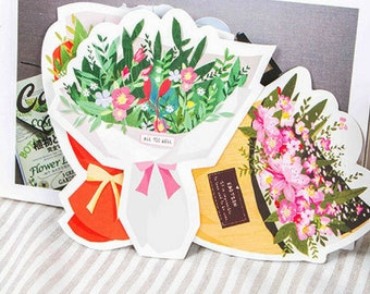 Romantic Flower Bouquet Mini Postcards ~ Greeting Cards, Mixed Flowers Cards, Floral Gift Tags, Scrapbooking, Snail Mail Penpal Card, Gift
