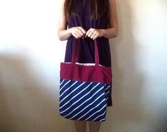 Navy Stripes tote bag