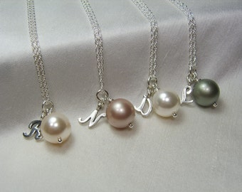 Bridesmaid Necklace Set of 4 Will You Be My Bridesmaid Gift Asking Bridesmaid Jewelry Pearl Wedding Jewelry Bridesmaid Proposal Gift Box