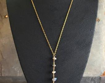White Druzy & Labradorite Gold Y Neckalce - Long Boho Chic Necklace - Bohemian Style Neckalce - Druzy Crystal Neckalce - Layering Necklace