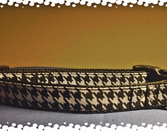 3/4 Wide Custom Made Adjustable Black or Red Houndstooth  Dog Collar