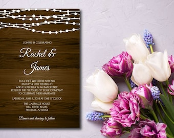 Rustic Wood With String Lights Wedding Invitation, Printable, Rustic Wedding Invite, RSVP, DIY Template, Instant Download, Editable PDF E16C