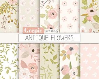 "Floral digital paper: ""ANTIQUE FLOWERS"" vintage flowers, digital clip art papers, hand drawn, patterns, floral background, old pink green"