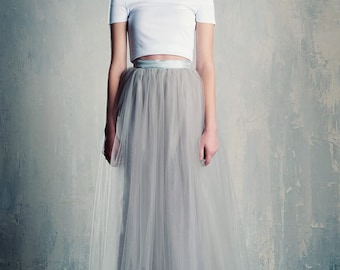 Silver Tulle Maxi Skirt Grey/Gray A Line Floor Length Bridesmaids Bridal Winter Wedding