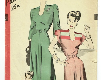 "Vintage Sewing Pattern 1940s Hollywood 1896 Ladies' Dress 34"" Bust - Free Pattern Grading E-book Included"