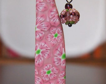Beautiful pink millefiori USB flash drive with beads for ladies