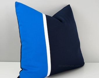 Navy & Cobalt Blue Pillow Cover, Modern Sunbrella Pillow Cover, Decorative Color Block Pillow Case, Blue and White Masculine Cushion Cover