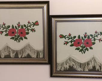 Antique needlepoint silk twin canvases
