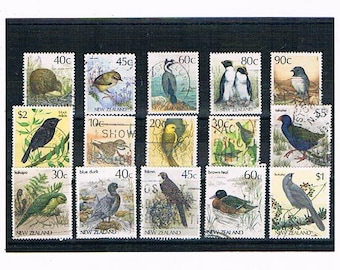 New Zealand Bird Stamps | kiwi, wren, penguin, falcon etc, - wild, water & garden bird definitives | NZ postal stamps to craft or collect