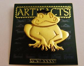 JJ Jonette Gold Tone Smiling Frog Brooch Pin