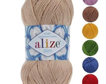 Yarn Alize Miss yarn cotton yarn 100% mercerized cotton thread crochet cotton natural cotton natural yarn knitting cotton eco-friendly yarn