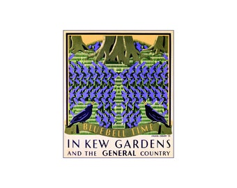 Kew Gardens 1932 Bluebell Time England Vintage Poster Print Art Travel Advert Free US Post Low EU & Canada Post Buy 3 Get 1 Free