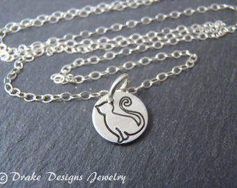 sterling silver cat necklace cat lover gift