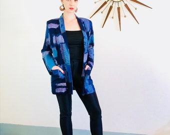 Vintage 80s blazer, Abstract print jacket, Kensington Square, Water color fabric, Blue Purple Black, Ladies blazer, boxy oversized jacket, M