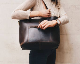 Leather Tote Bag with Zipper and Pockets Brown Leather  Shopper Handbag - '' Eden '' Handmade by Niche Lane