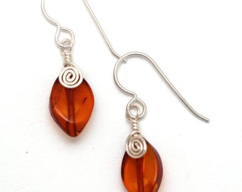 Wire-wrapped Amber Leaves Earrings