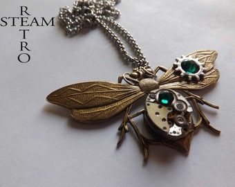 steampunk entomologist  necklace - steampunk dragonfly - steampunk firefly - moth - mechanical dragonfly - emerald necklace -